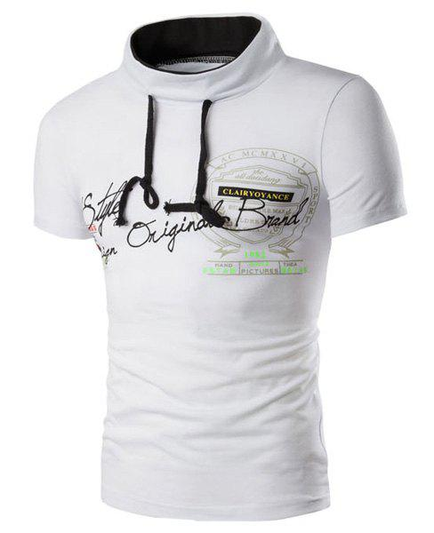 Stand Collar Letters Pattern Printed Short Sleeve Men's T-Shirt - WHITE 2XL