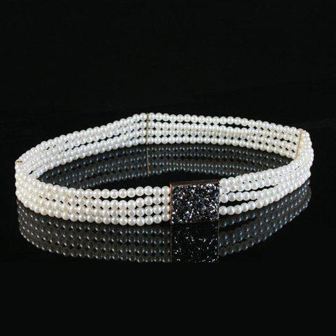 Chic Rhinestone Four Layered Faux Pearl Womens Waist ChainAccessories<br><br><br>Color: WHITE