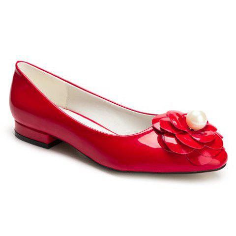 Leisure Flower and Faux Pearl Design Women's Flat Shoes - RED 35