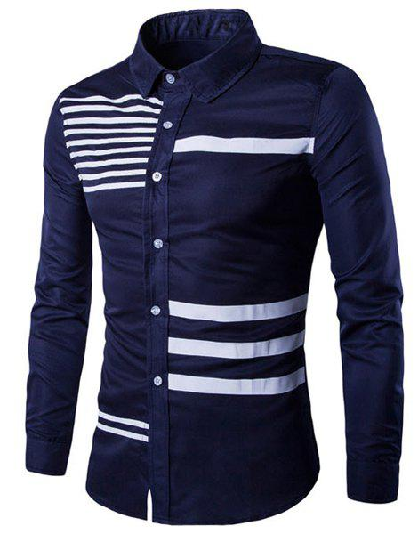 Modish Turn-Down Collar Hit Color Stripes Print Long Sleeve Men's Shirt