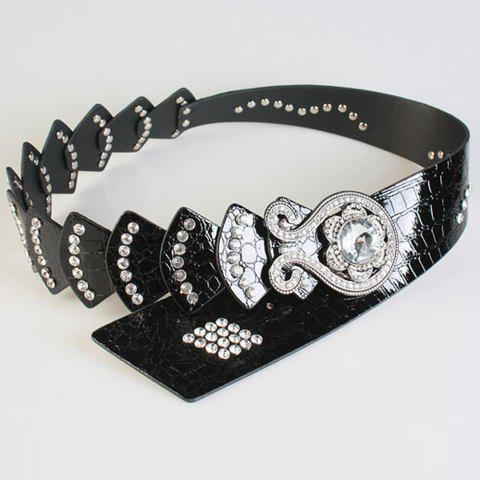 Chic Rhinestone and Simple Octopus Shape Decorated Women's Wide Belt - BLACK