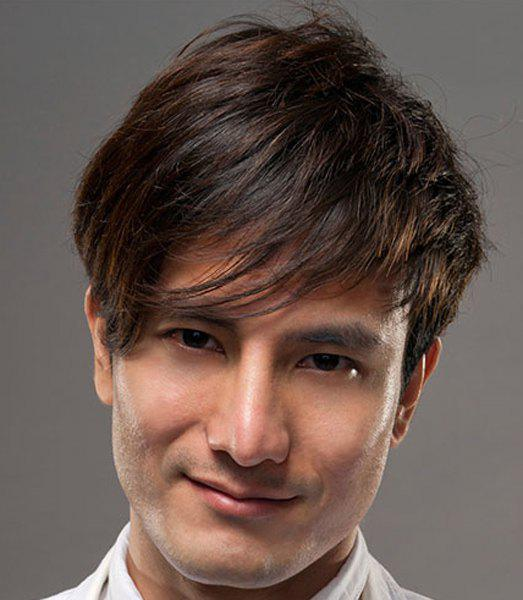 Fluffy Straight Side Bang Capless Stylish Dark Brown Short Synthetic Wig For Men - DEEP BROWN