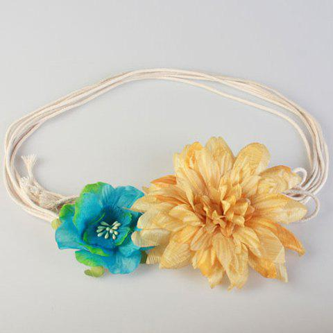 Chic Two Color Flower Shape Decorated Women's Waist Rope - TURQUOISE