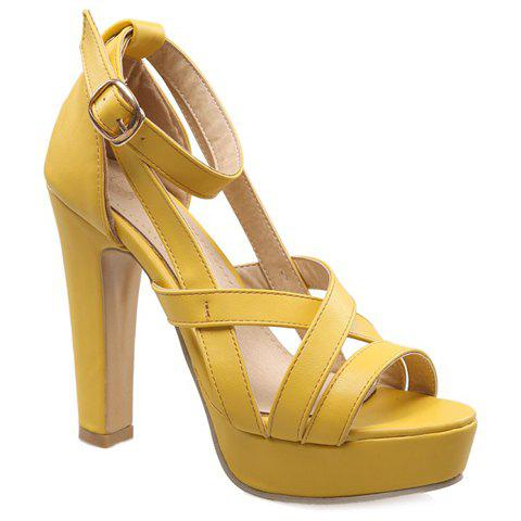 Trendy Solid Colour and Ankle Strap Design Women's Sandals - YELLOW 36