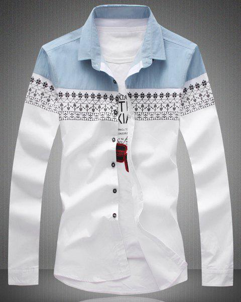 Slimming Ethnic Print Splicing Turn-Down Collar Long Sleeve Men's Shirt - WHITE XL