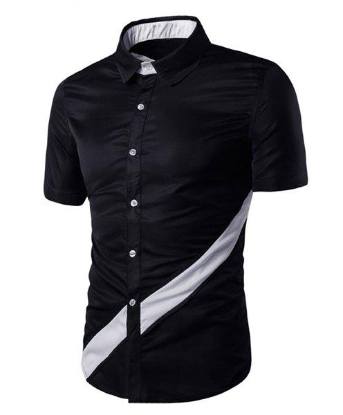 Modish Turn-Down Collar Color Block Spliced Short Sleeve Men's Shirt - BLACK L