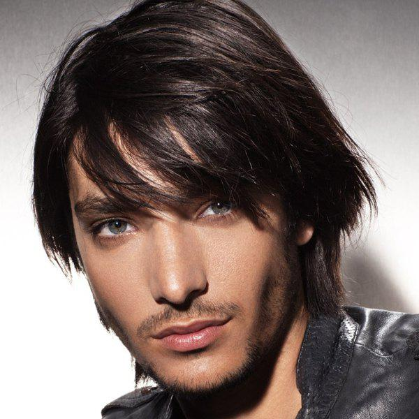 Vogue Short Side Bang Capless Handsome Natural Black Straight Synthetic Wig For Men