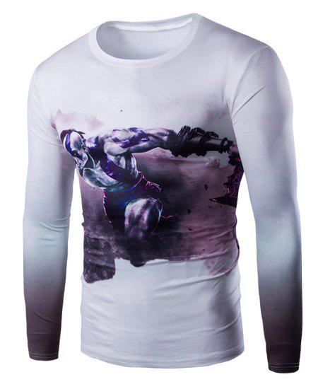 Vogue Slimming Round Neck 3D Beefcake Print Long Sleeves Men's Ombre T-Shirt