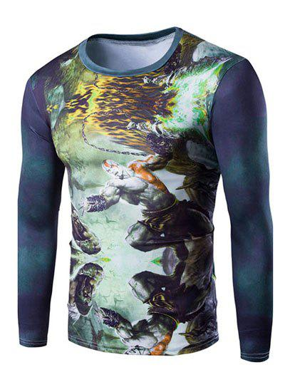 Cool 3D God of War Print Round Neck Long Sleeves Men's Slim Fit T-Shirt - YELLOW M