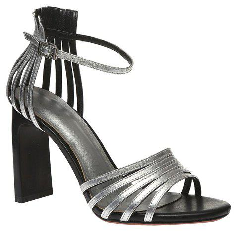 Trendy Solid Color and Strange Style Design Women's Sandals - SILVER 34