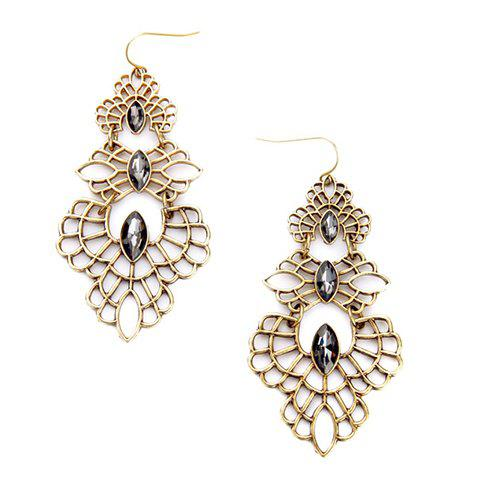 Pair of Delicate Faux Crystal Hollow Out Earrings For Women - GOLDEN