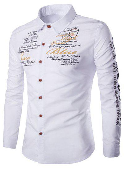 Trendy Turn-down Collar Funny Letters Print Long Sleeves Men's Slimming Shirt - WHITE M