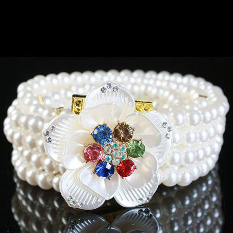 Fashionable Artificial Gem Flowers Decorated Pearls Waist Chain For Women