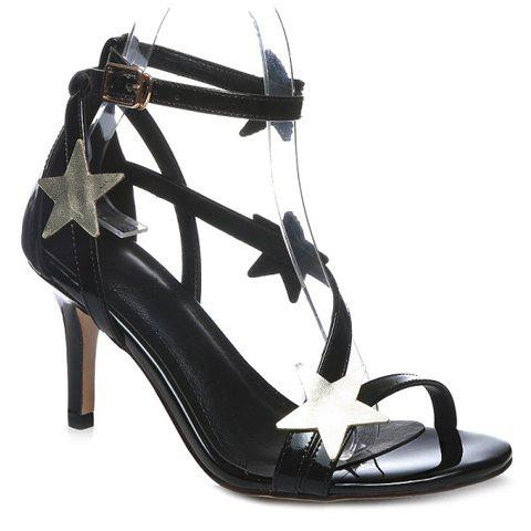 Fashionable Patent Leather and Stars Design Women's Sandals - BLACK 36