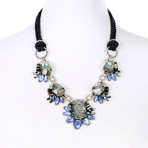 Vintage Faux Gem Irregular Necklace - BLUE