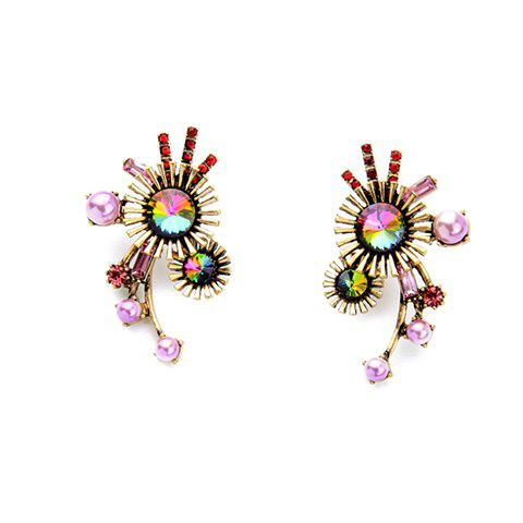 Pair of Beads Floral Earrings - GOLDEN