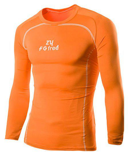 Letters Stripes Pattern Skintight Round Neck Long Sleeves Men's Quick-Dry T-Shirt - ORANGE M