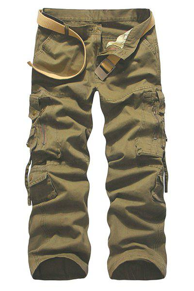 Solid Color Muiti-pockets Plus Size Cargo Pants For Men - KHAKI 34