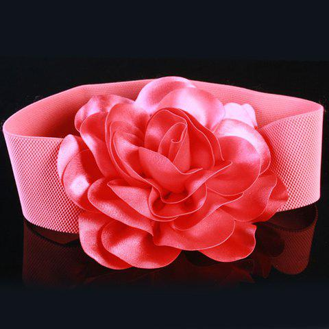 Chic Vivid Big Flower Shape Embellished Women's Elastic Waistband - WATERMELON RED