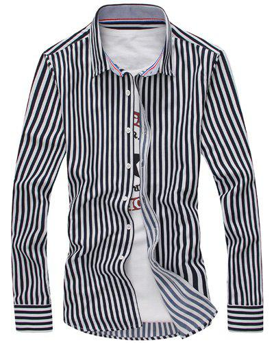 Turn-Down Collar Vertical Stripe Long Sleeve Men's Shirt