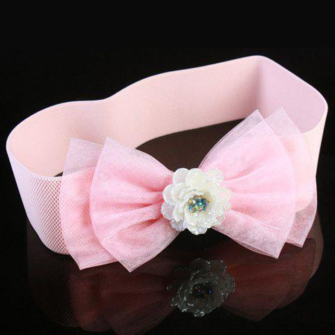 Chic Flower and Double-Deck Lace Bow Embellished Women's Elastic Waistband - PINK