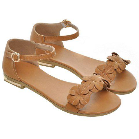 Leisure Flat Heel and Appliques Design Women's Sandals - BROWN 38
