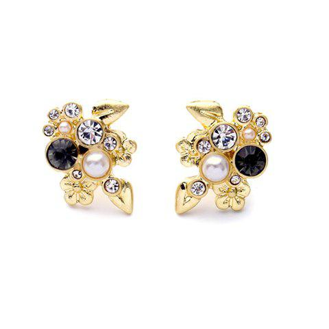 Pair of Chic Rhinestone Faux Pearl Earrings For Women - GOLDEN