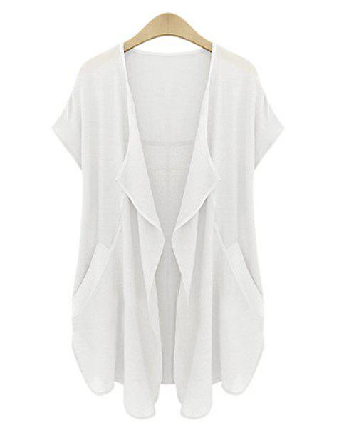 Casual Turn-Down Neck Short Sleeve Pure Color Plus Size Cardigan For Women - WHITE 2XL