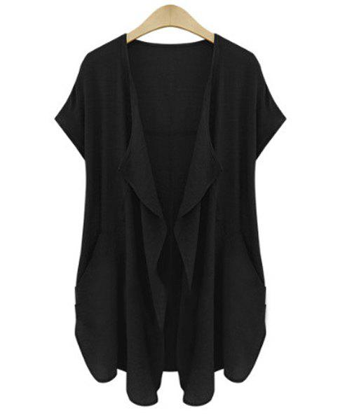 Casual Turn-Down Neck Short Sleeve Pure Color Plus Size Cardigan For Women - BLACK XL