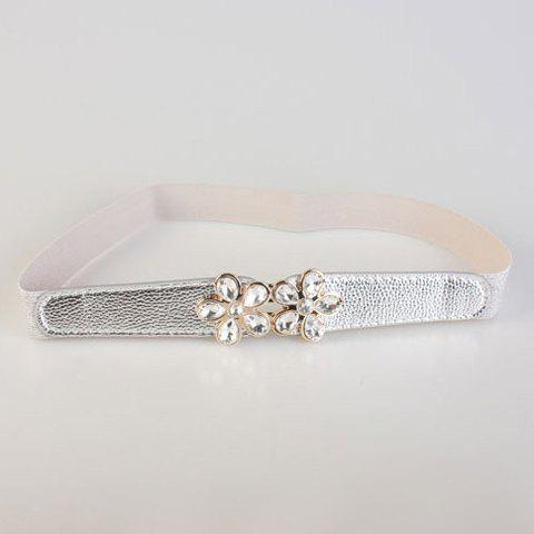 Chic Rhinestone Inlay Flower Shape Embellished Women's Elastic Waistband - GRAY