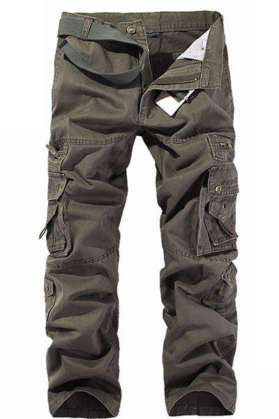 Zip Up Multi Pockets Cargo Pants - ARMY GREEN 32