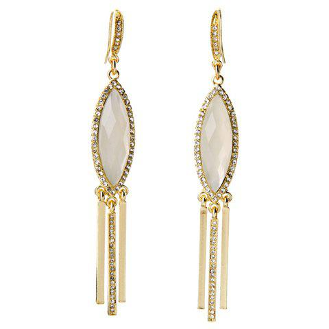 Pair of Charming Rhinestone Faux Opal Oval Earrings For Women - GOLDEN