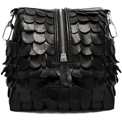 Casual Patchwork and Black Design Crossbody Bag For Women - BLACK