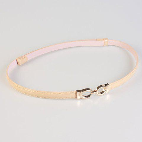 Chic Hollow Out Ellipse Hasp Women's Slender PU Belt chic metal hasp adjustable slender pu belt for women