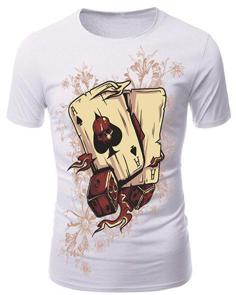Round Neck 3D Poker and Dice Print Short Sleeve Men's T-Shirt - WHITE M