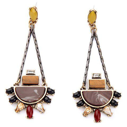 Pair of Chic Faux Gemstone Geometric Earrings For Women -  BROWN