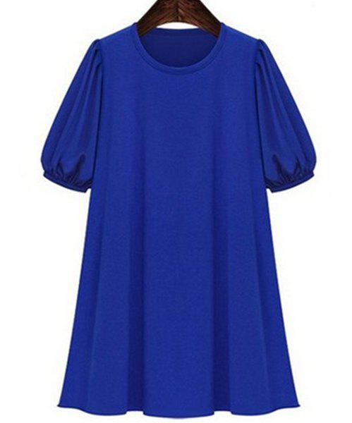 Casual Style Jewel Neck Short Sleeve Solid Color Plus Size Women's Dress - BLUE 5XL