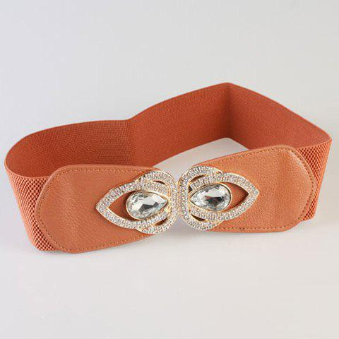 Chic White Rhinestone and Metal Embellished Women's Elastic Waistband - CAMEL