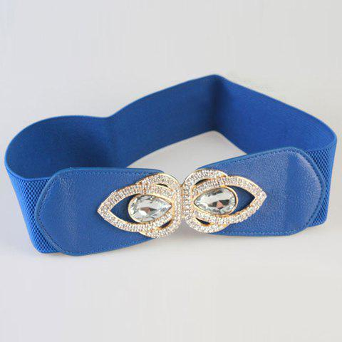 Chic White Rhinestone and Metal Embellished Womens Elastic WaistbandAccessories<br><br><br>Color: BLUE