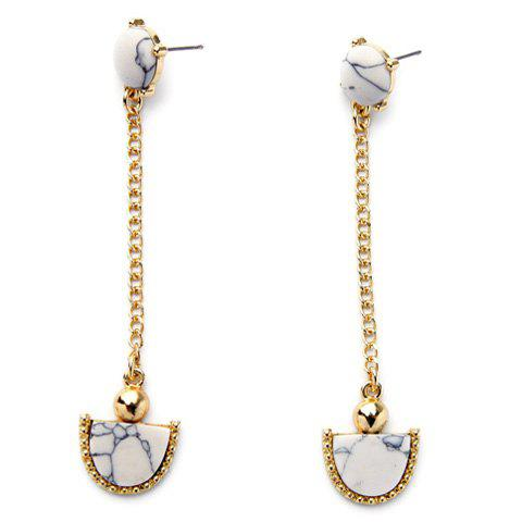 Fan Shape Faux Gem Drop Earrings - GOLDEN