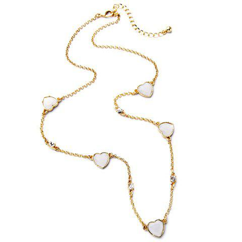 Chic Rhinestone Heart Sweater Chain For Women - GOLDEN