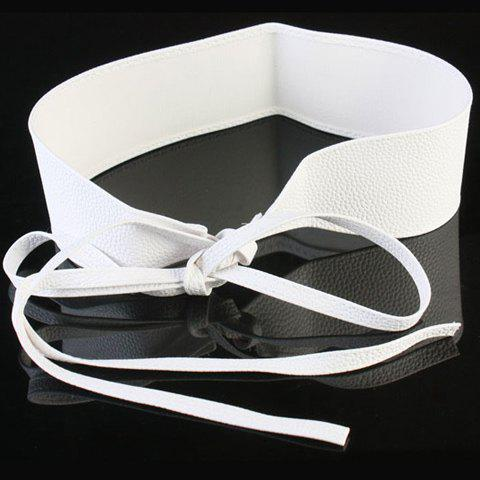 Chic Candy Color Lace-Up Women's PU Wide Waist Belt - WHITE