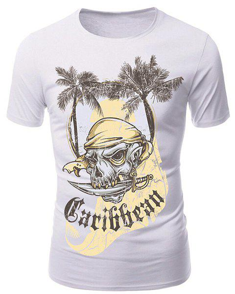 Round Neck 3D Coco and Pirate Skull Print Short Sleeve Men's T-Shirt 3d coco and pirate skull print round neck short sleeve men s t shirt