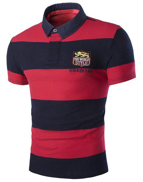 Color Block Letters Embroidered Turn-down Collar Short Sleeves Men's Polo T-Shirt - L RED