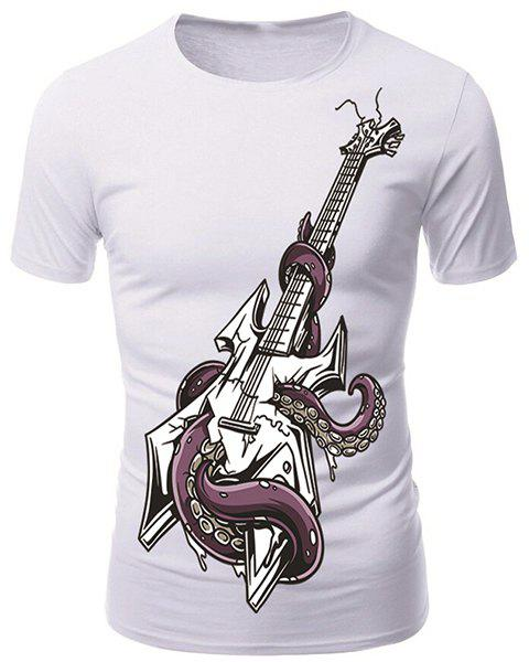 Round Neck 3D Octopus and Guitar Print Short Sleeve Men's T-Shirt - WHITE XL