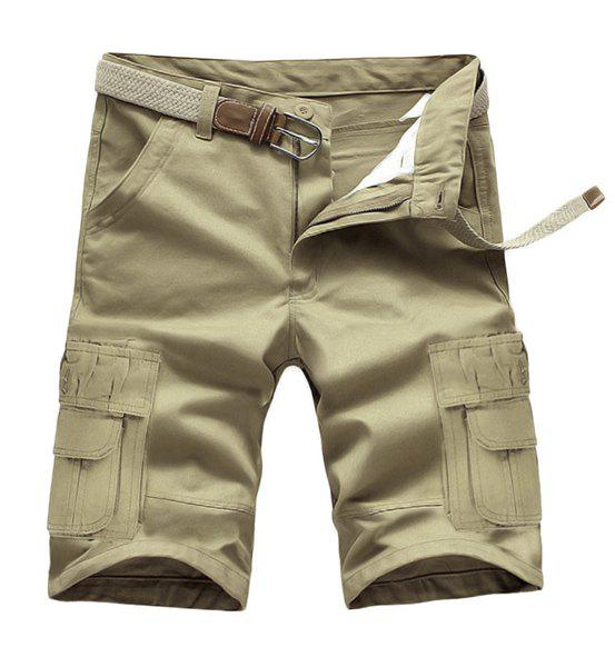 Loose Fit Summer Solid Color Pockets Cargo Shorts For Men - LIGHT KHAKI 32