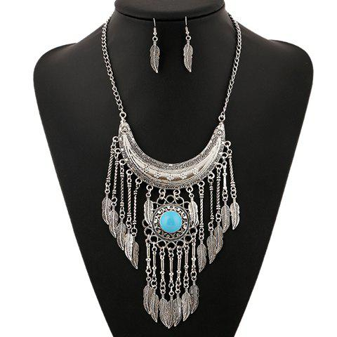 A Suit of Gorgeous Artificial Gem Moon Leaf Necklace and Earrings For Women