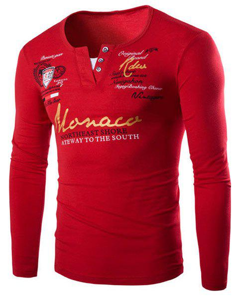 Modish V-Neck Letters Print Long Sleeve Faux Twinset Men's T-Shirt - RED L