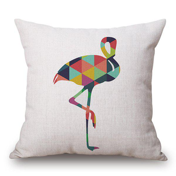 Stylish Triangle Combination Crane Pattern Cotton and Linen Pillow Case(Without Pillow Inner) - OFF WHITE