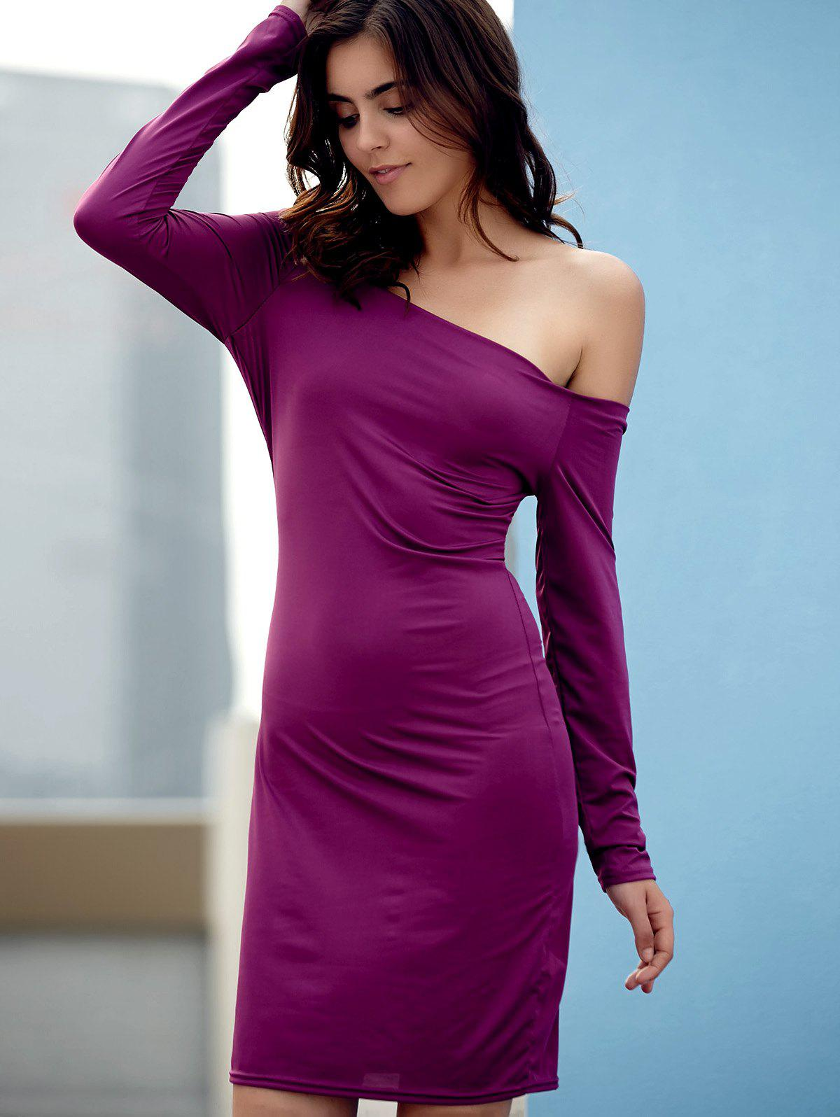 Elegant Off-The-Shoulder Long Sleeve Sheath Solid Color Dress For Women - PURPLE L